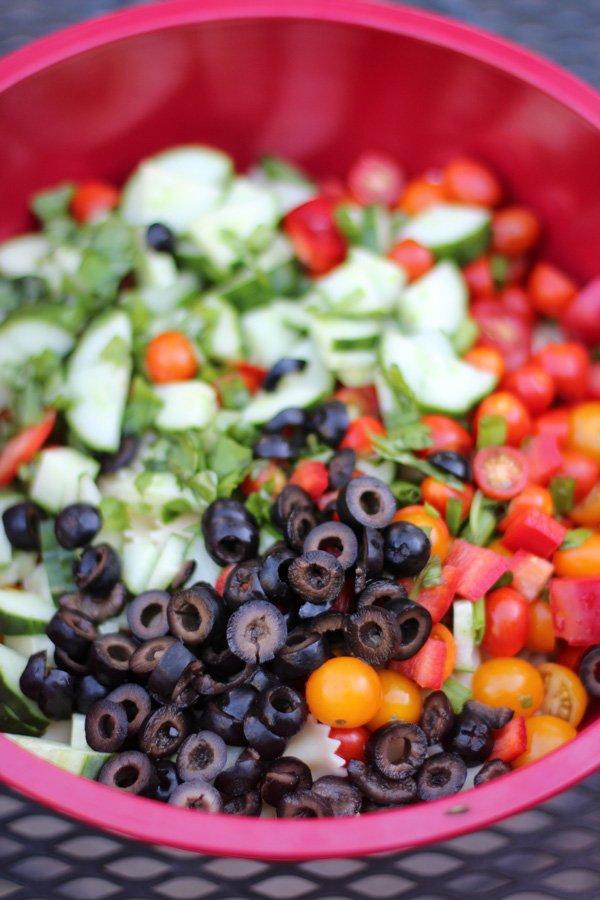 veggies in red bowl