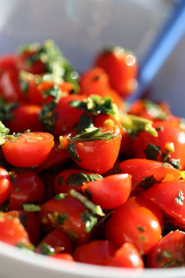 mini tomato basil salad
