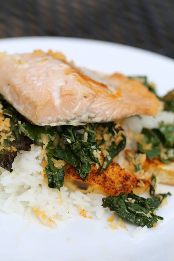 Coconut Salmon with Roasted Kale and Rice