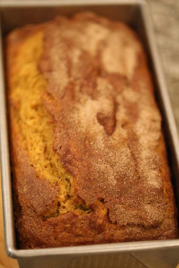 Pumpkin bread in baking pan.