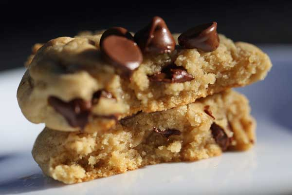 Two cookies with chocolate chips.