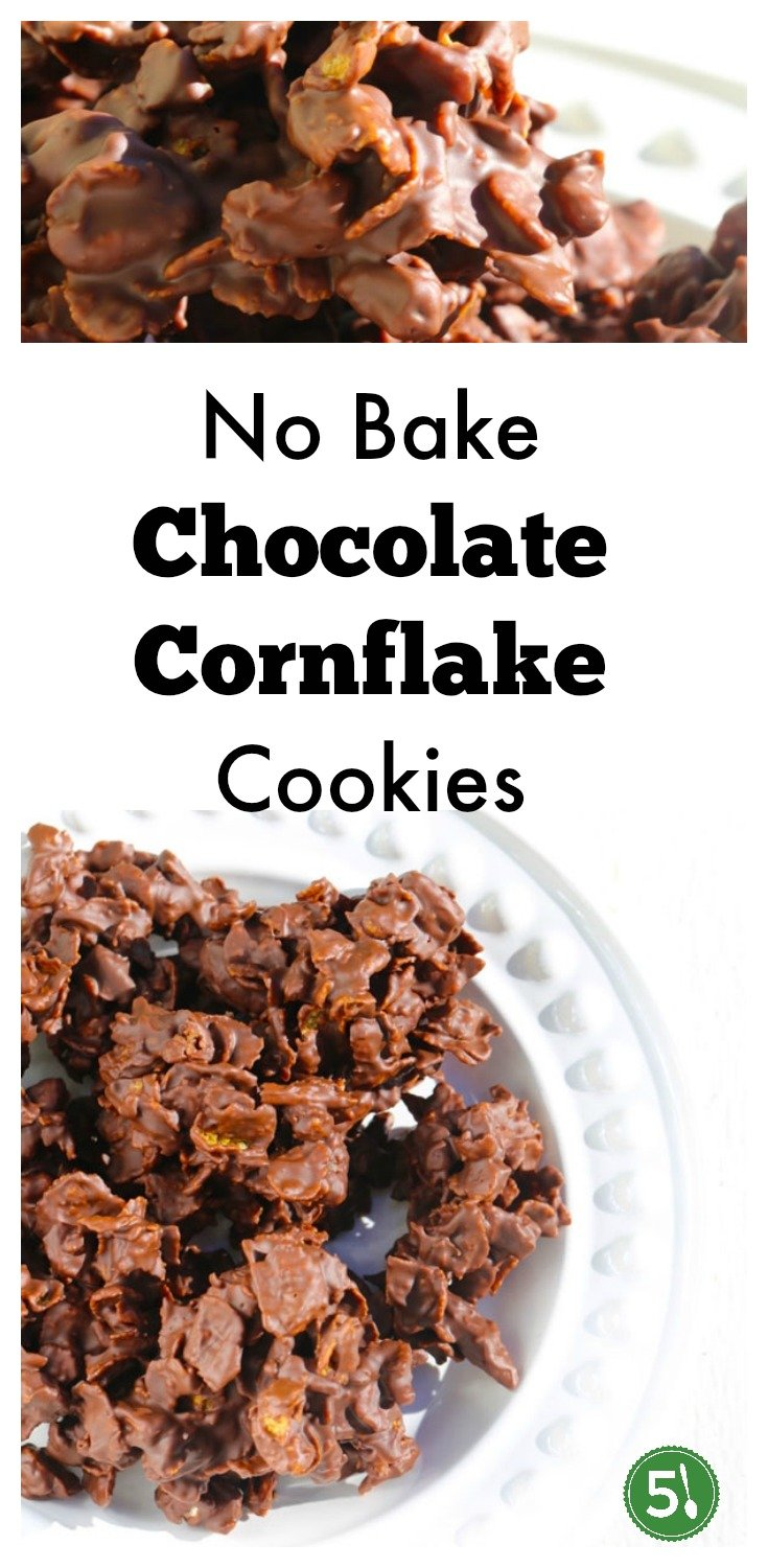 No bake chocolate cornflake cookies are perfect for your Christmas cookie platter.  This recipe includes chopped pecans, dates, peppermint extract and sweet milk chocolate.
