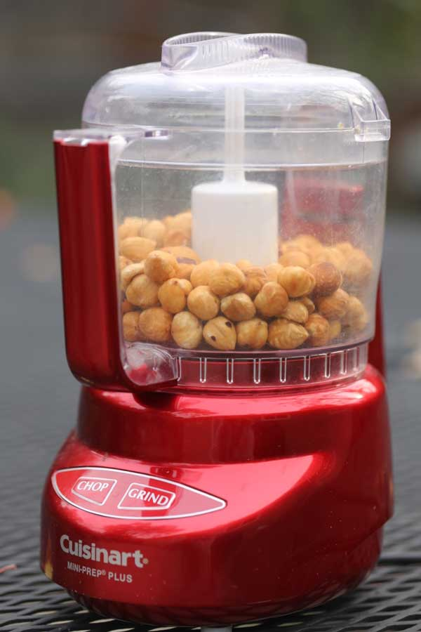 chopped hazelnuts in cuisinart