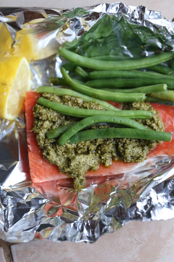 Easy Foil Baked Pesto Salmon