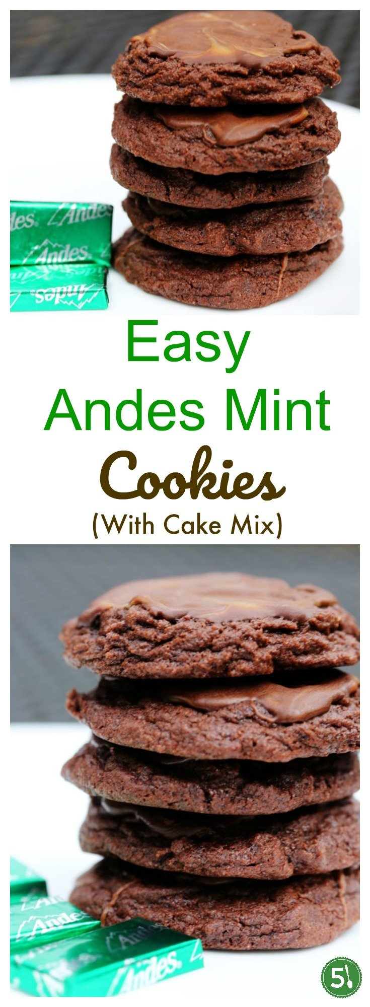 Easy Andes Mint Cookie recipe using cake mix.  Andes Mint chocolates melting on top of a moist chocolate cookie - Yum.
