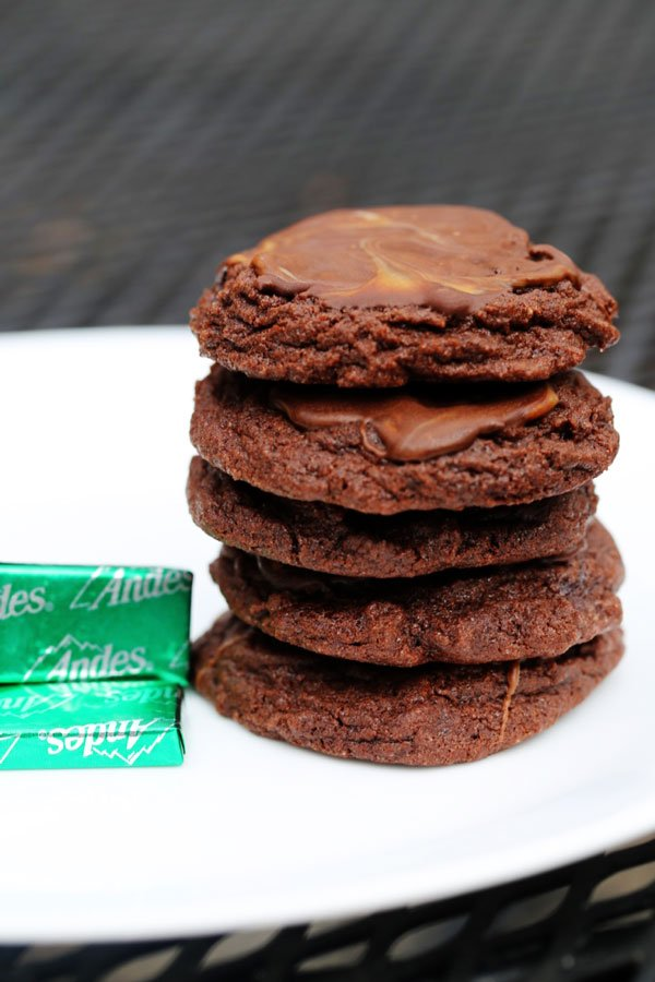 Andes mint cookies on a white plate.