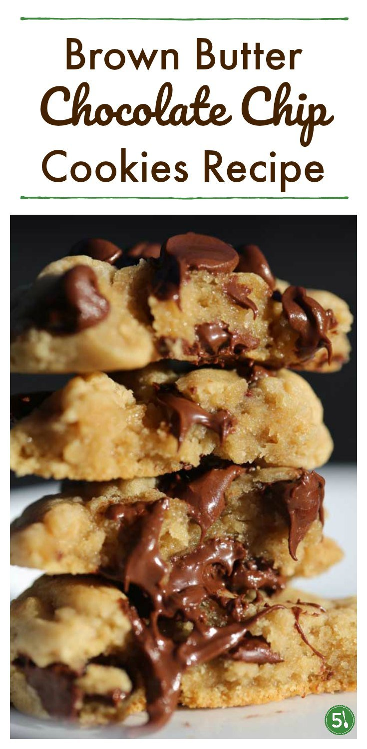 These Brown Butter Chocolate Chip cookies are beyond delicious. The slight woodsy taste of the browned butter mixed with chocolate and soft cookies is heavenly.