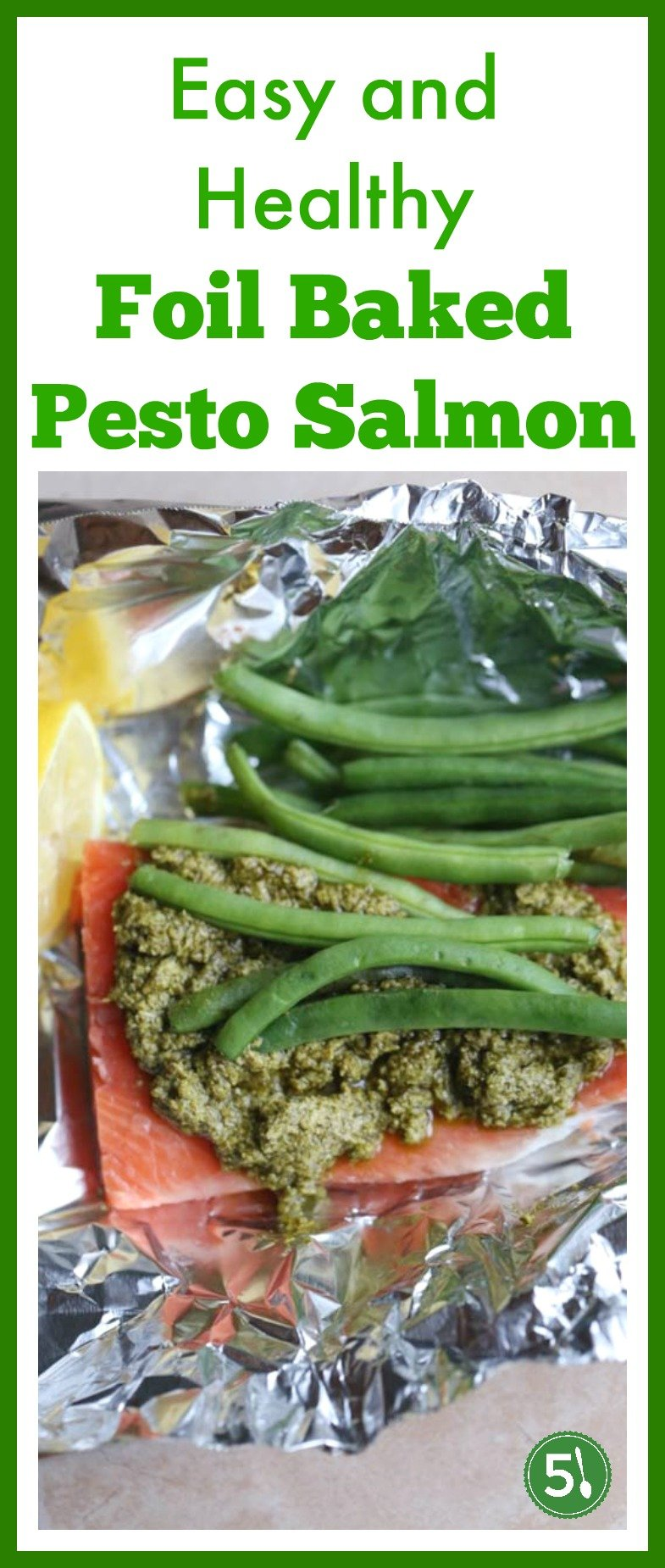 Pesto Salmon cooked in foil with fresh veggies is an easy and healthy dinner you can whip up in under 30 minutes.