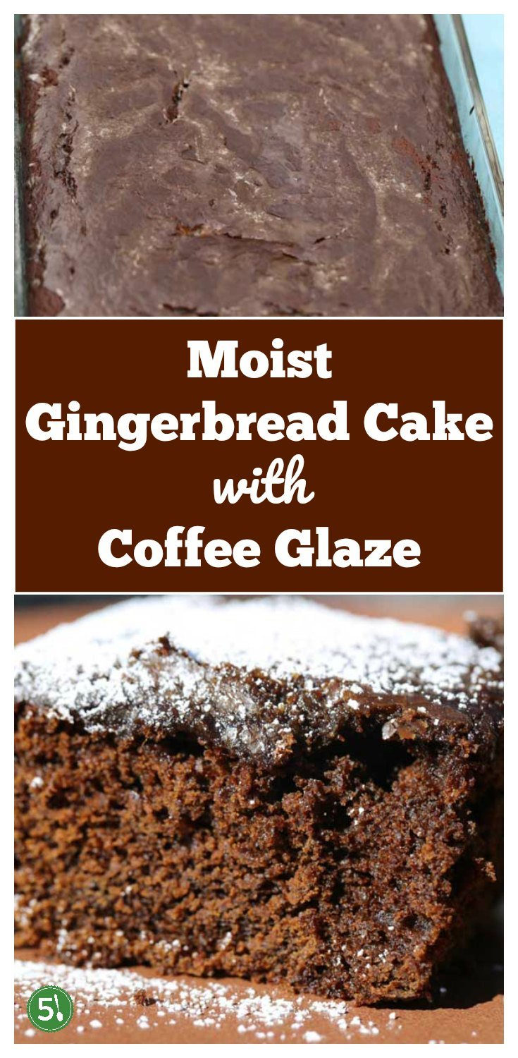 Moist old fashioned gingerbread cake recipe with Coffee Glaze from Flour Bakery. So good.  The pepper, ground cloves and cinnamon really kick up flavor.