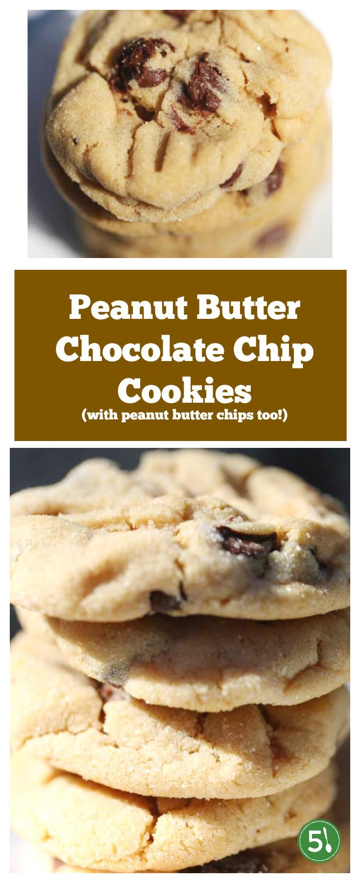 Easy peanut butter chocolate chip cookie recipe that produces chewy and soft cookies with a secret ingredient of peanut butter chips!