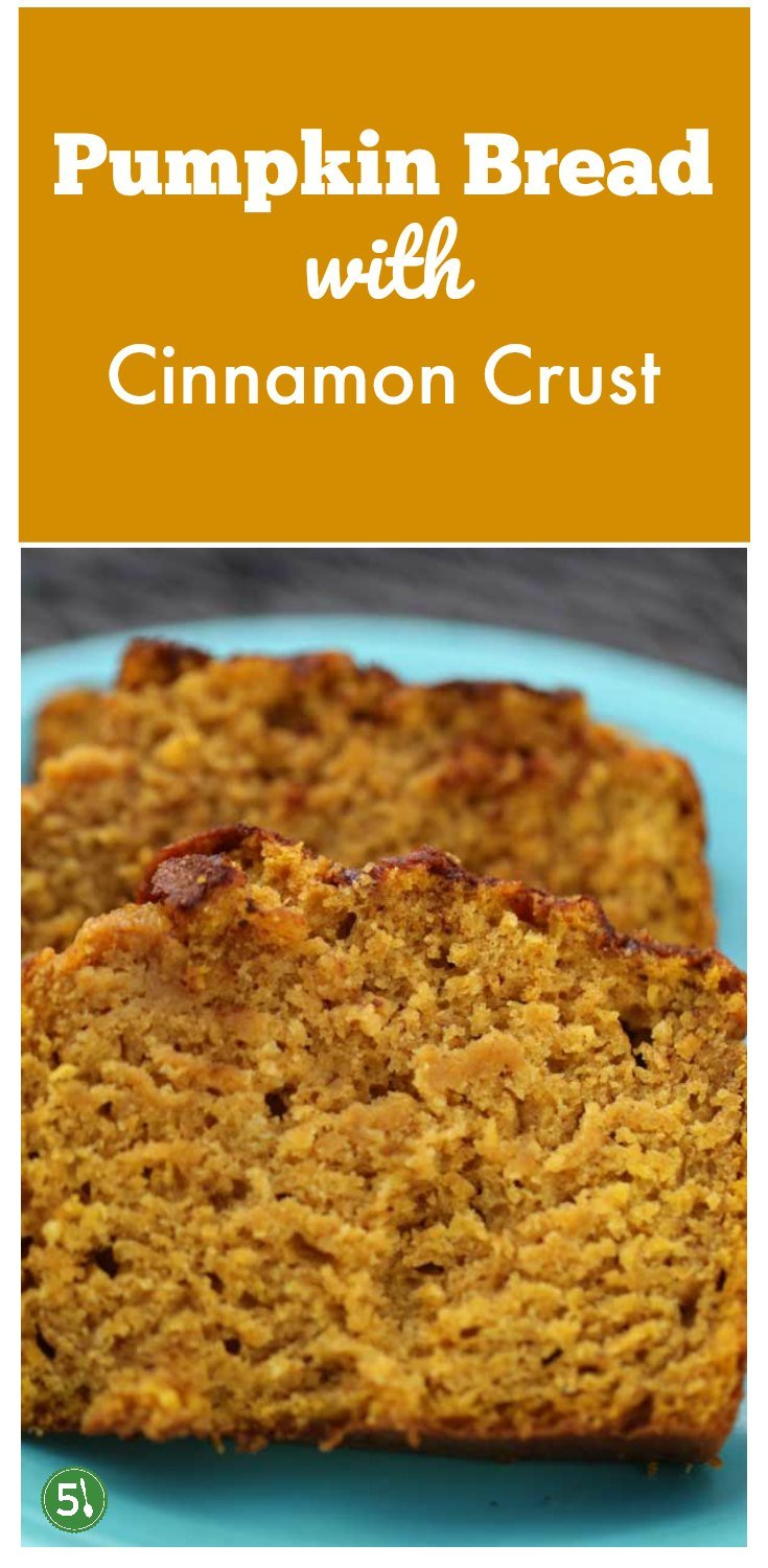 Easy Pumpkin Bread recipe with Cinnamon and Sugar Crust. Super moist bread with a crackly sweet crust on top. Delish and quick to whip up.