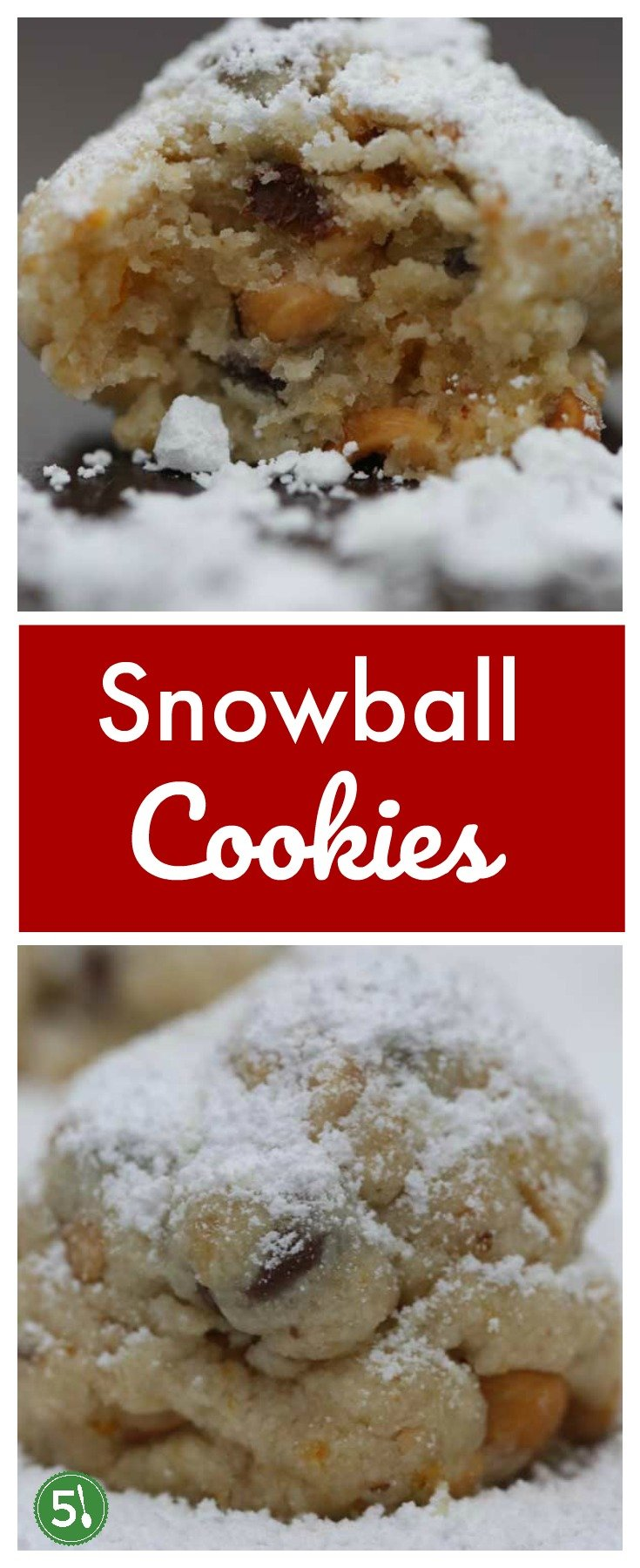 Snowball cookies recipe with orange zest and chopped nuts (pecans or hazelnuts).