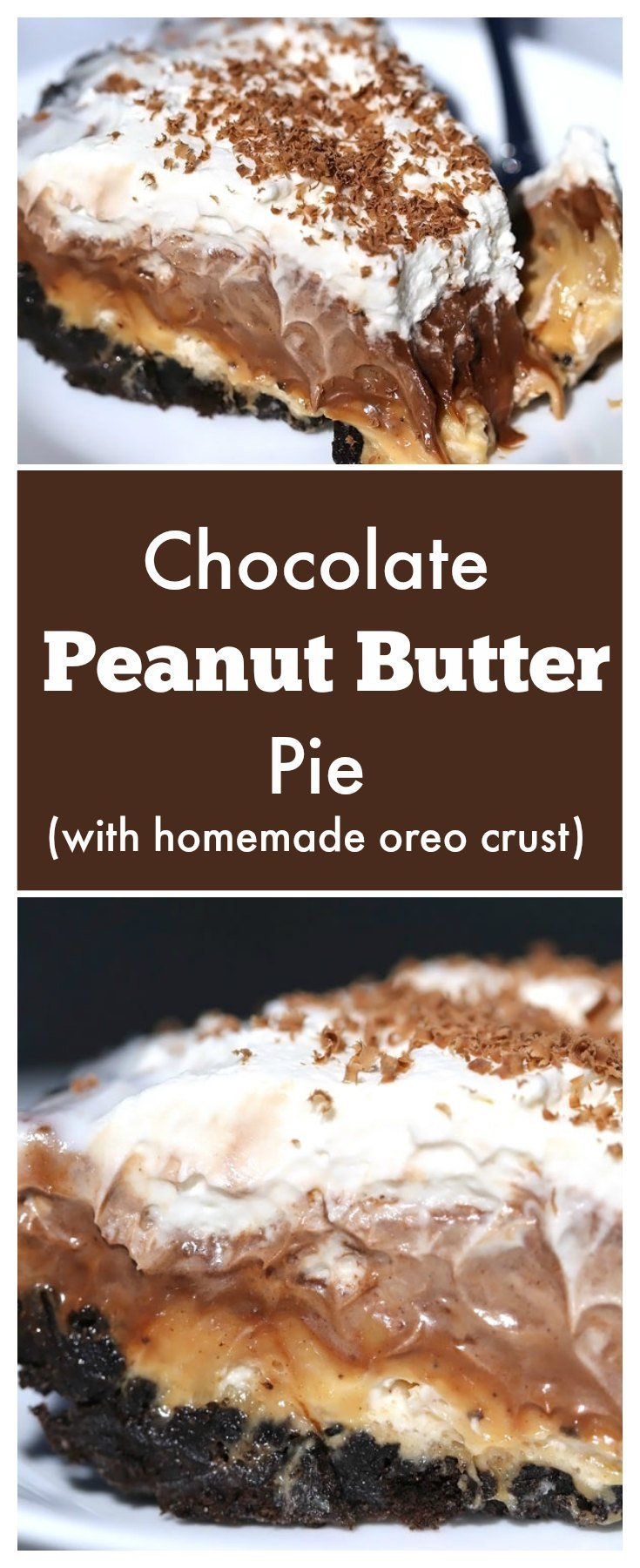 This No Bake chocolate peanut butter pie recipe with homemade oreo crust has earned a spot on our favorite dessert recipes list.  It is soft, creamy and oh so decadently delicious.