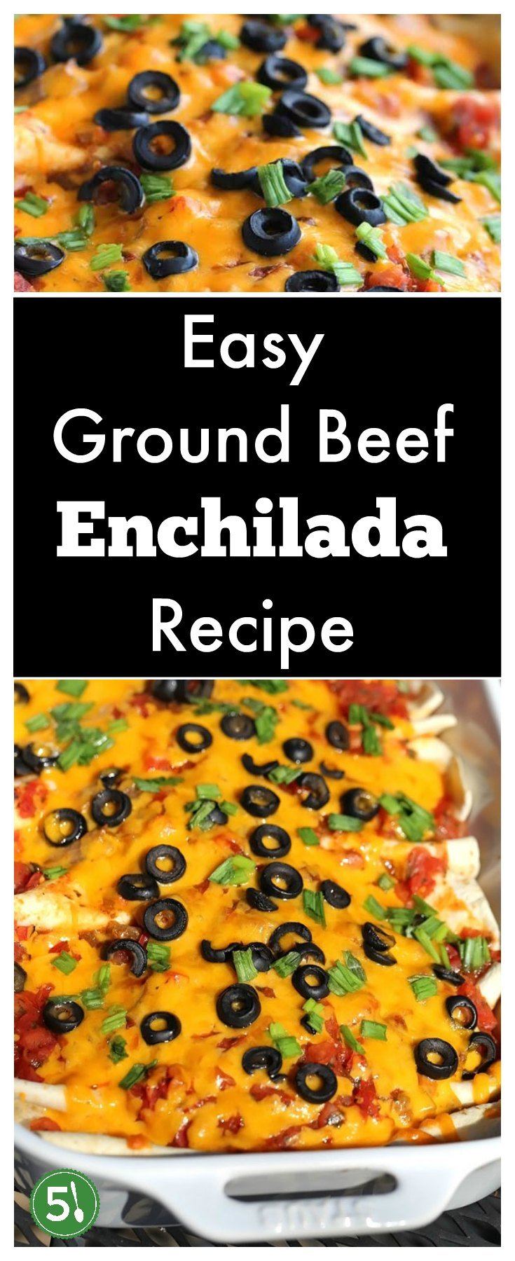 Easy ground beef enchilada recipe with red sauce that is so simple to throw together for a healthy weeknight meal.  So Delicious.