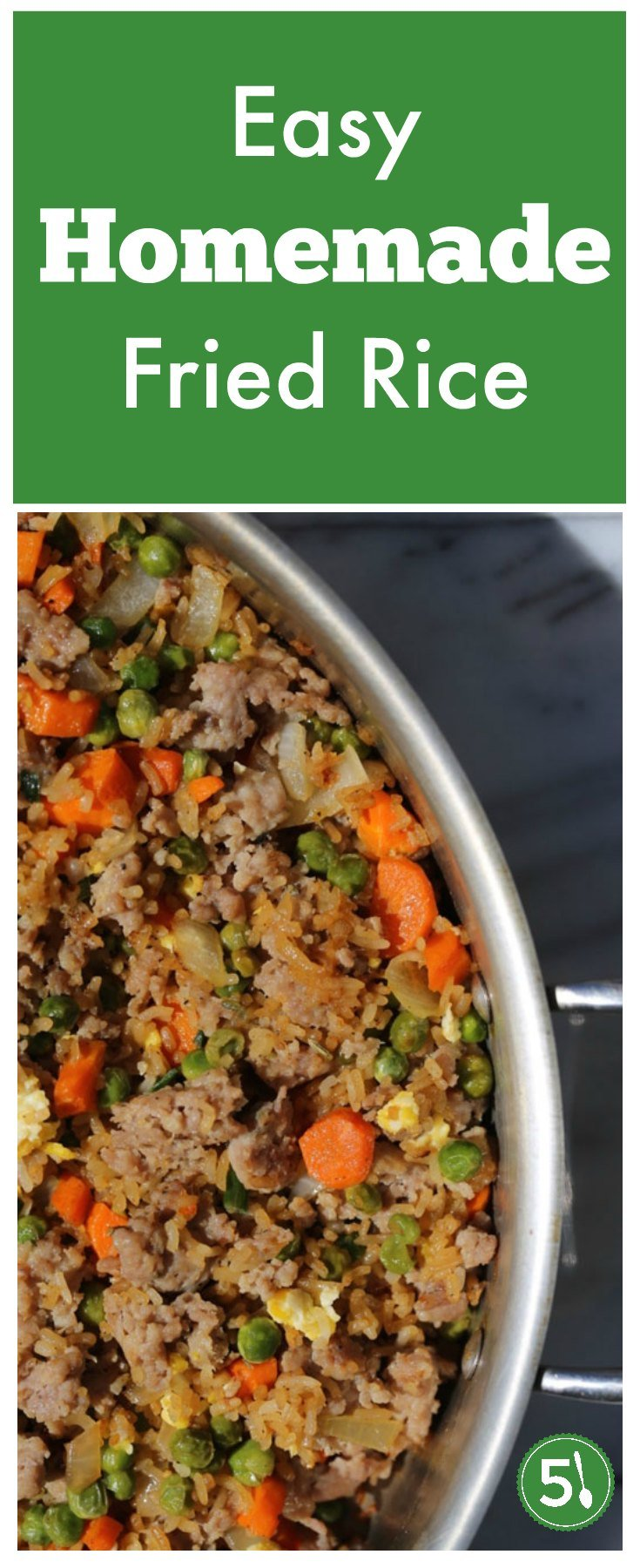 This easy homemade fried rice recipe with egg and a touch of sesame oil is better than Chinese food restaurant takeout. The rice is fluffy, veggies are fresh, add a protein, and you have a healthy and delicious dinner.