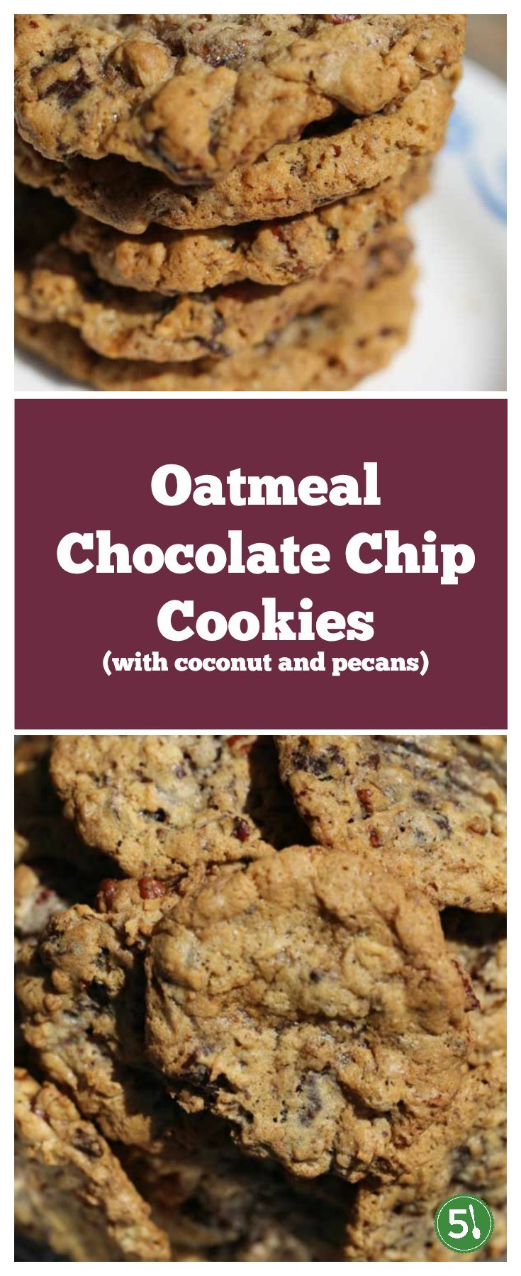 Chewy and soft oatmeal chocolate chip cookies loaded with pecans and coconut are a delicious combination.  Flour Bakery's Chunky Lola cookies are delish!