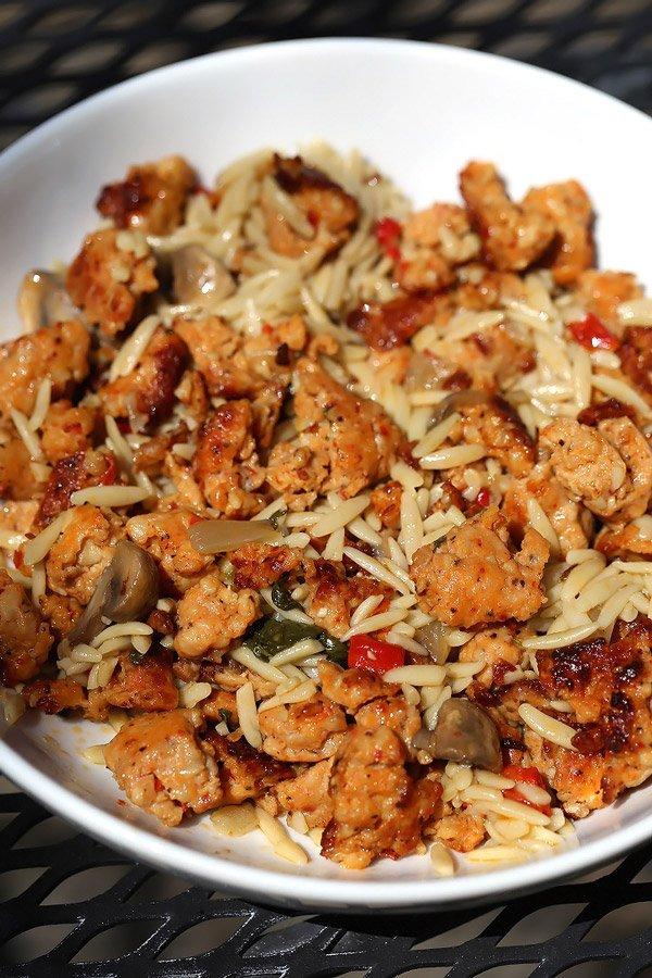 Easy Italian Sausage and Orzo Skillet Dinner