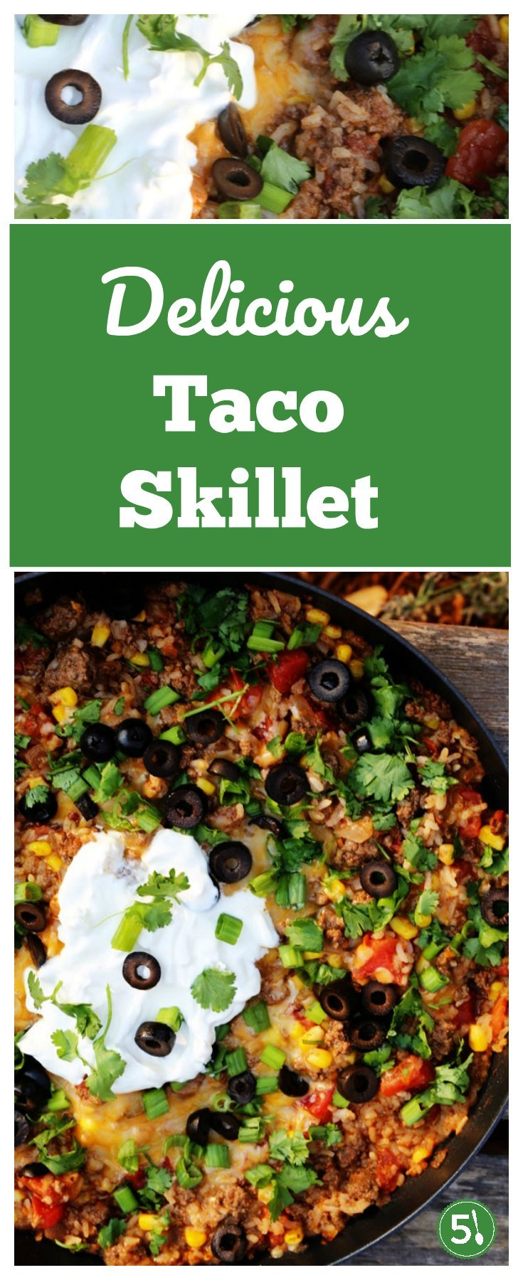 Ground beef taco skillet, full of protein and veggies, is a delicious and easy family dinner that everyone will enjoy.
