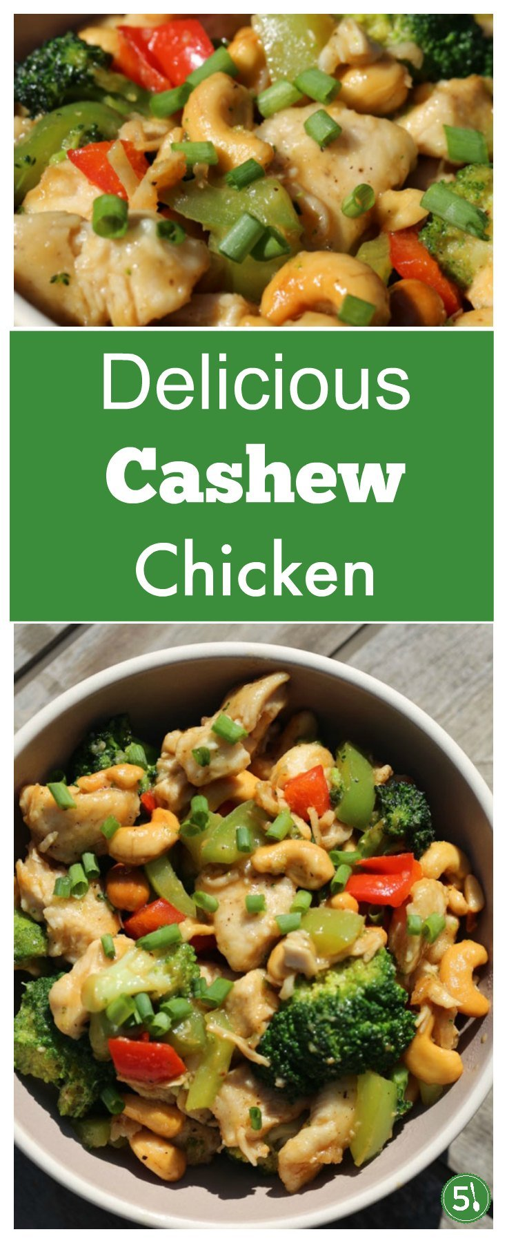 Easy and healthy cashew chicken recipe with red peppers, broccoli, soy sauce and garlic. Families who love quick and tasty meals will love this dish.
