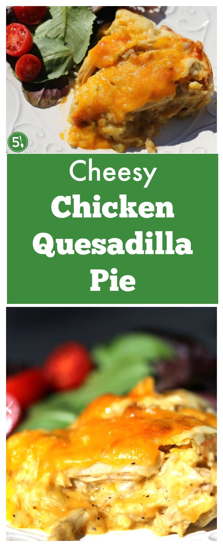 This cheesy chicken quesadilla pie is unique with its bread top covering chicken, cheese and green chile goodness beneath.  This is a meal that is easy to whip up for dinner, but tastes like you've spent hours in the kitchen.
