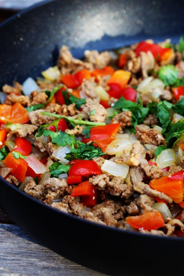 Ground turkey dinner in skillet.