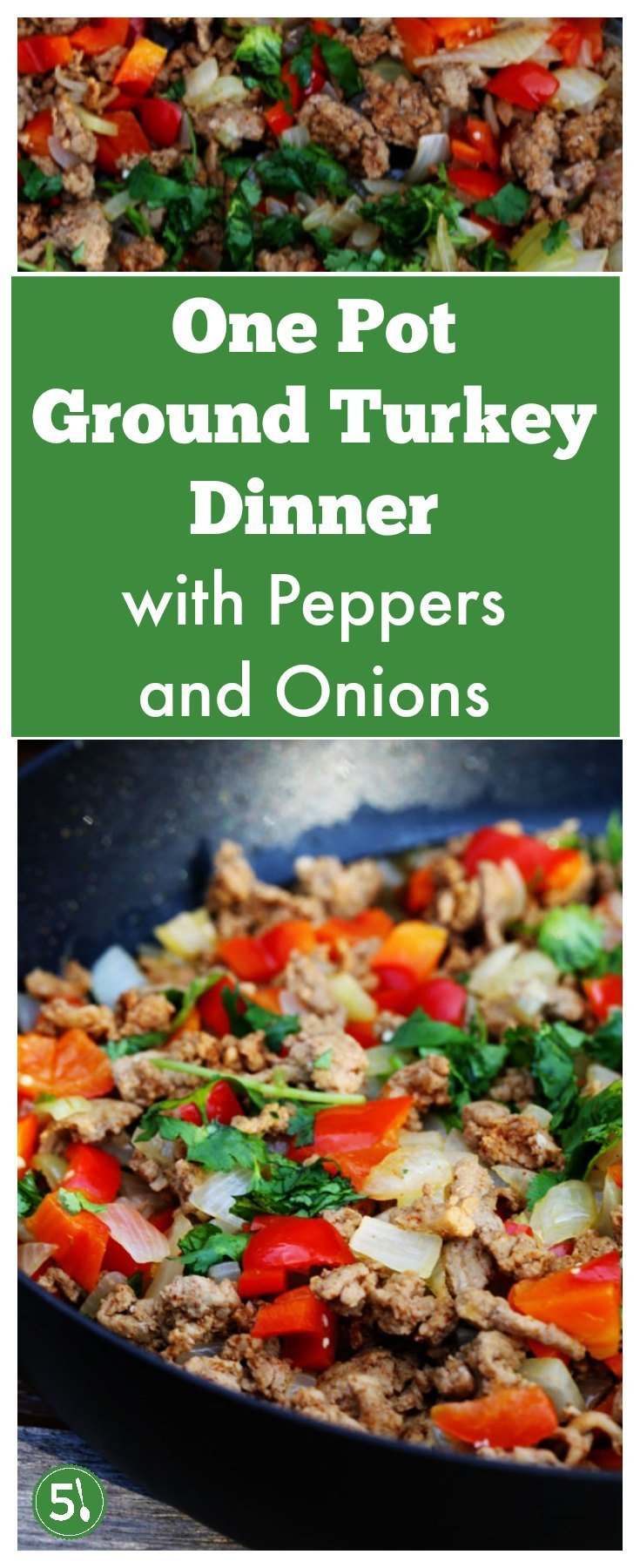 Healthy and Easy ground turkey dinner with peppers and onions is quick to throw together, a one pot meal, and loved by families for a warm comfort food dinner.