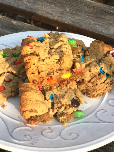 Peanut Butter Cookie Bars with M&Ms