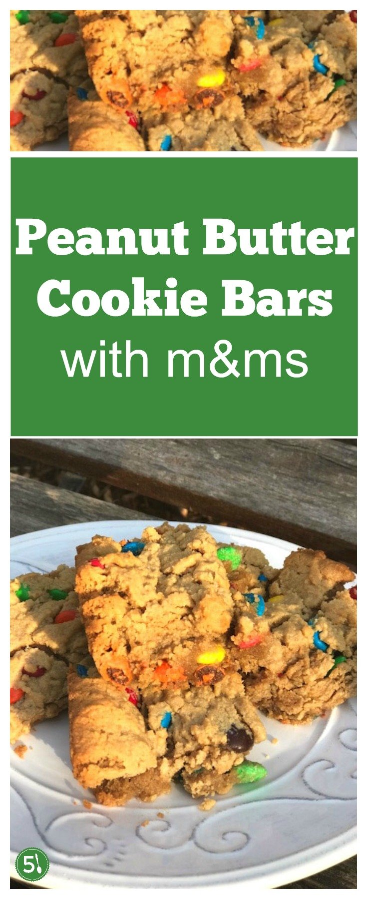 These easy peanut butter cookie bars can be whipped up in one bowl in no time flat.  I love baking sweet treats that include m&m chocolates.  Desserts with m&ms are always welcome in my house.