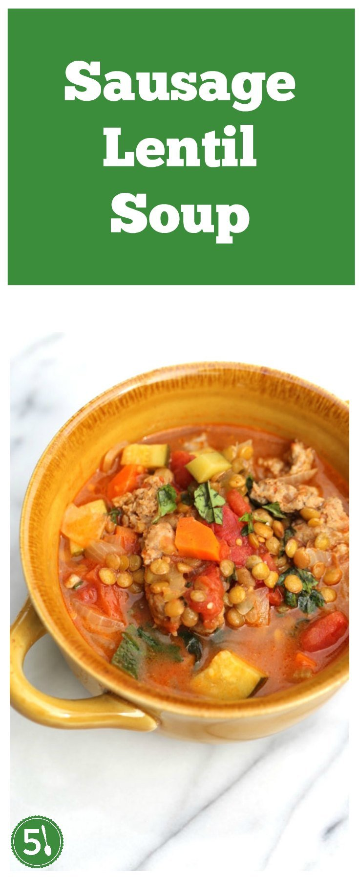 Healthy sausage lentil soup recipe loaded with veggies and italian sausage is such a delicious comfort food for cool Fall weather.  This recipe is similar to the soup at Carrabba's.  So yummy.