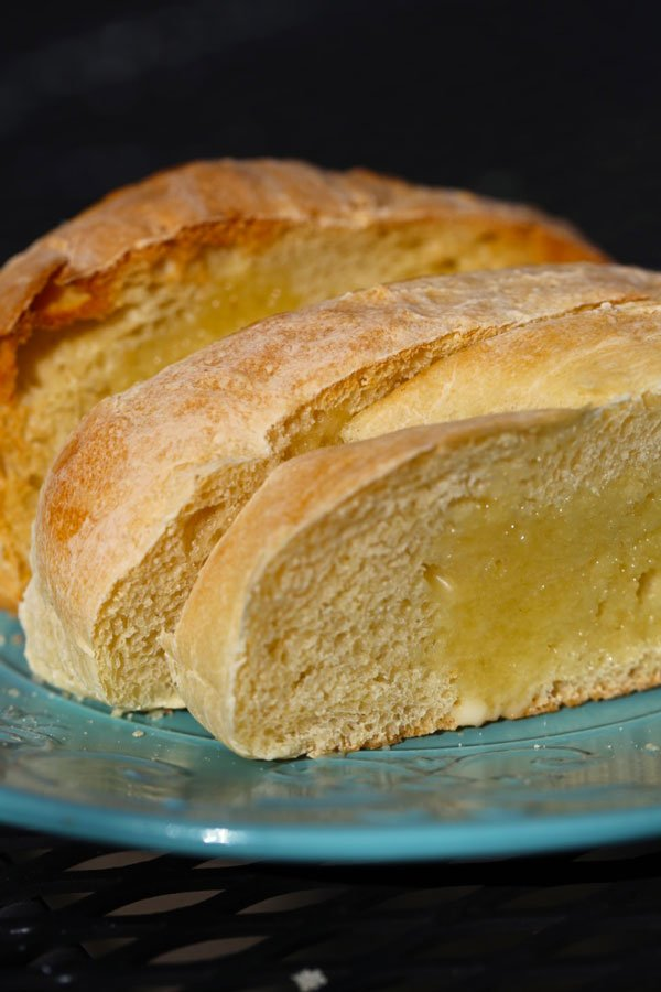 Slices of homemade french bread.