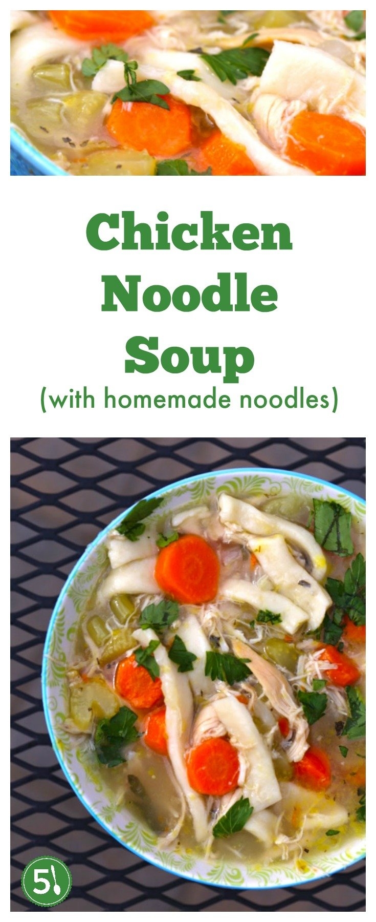 Easy homemade chicken noodle soup with rotisserie chicken, celery, carrots, onions, basil, oregano and garlic. Recipe includes from scratch noodles that are surprisingly quick to prepare.