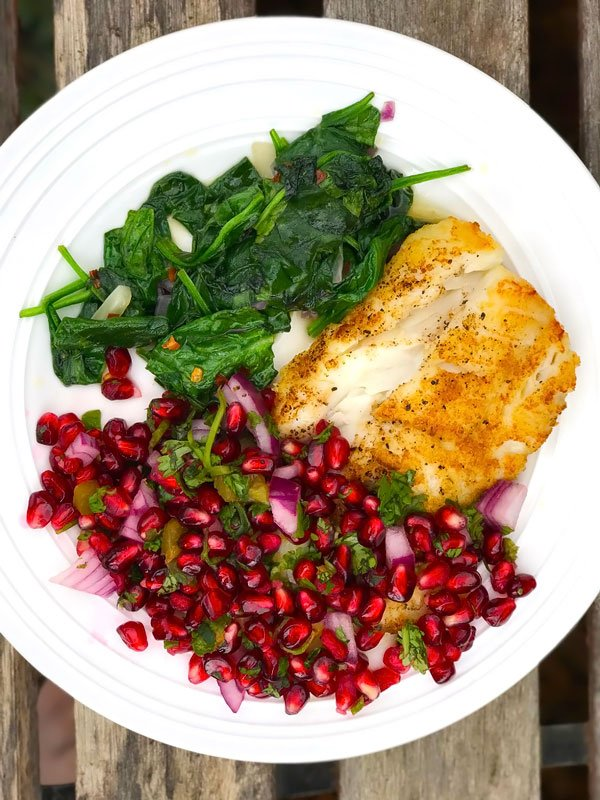 Pan Seared Cod with Pomegranate Salsa