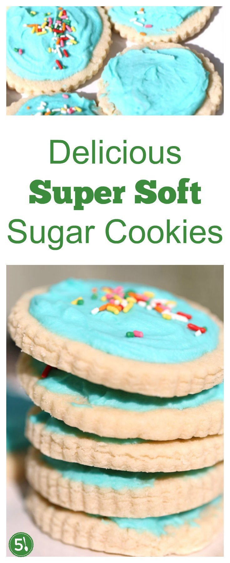 Soft sugar cookie recipe that is great for cut outs during the Holidays. Top with a homemade buttercream frosting or royal icing, and you have a divine treat.