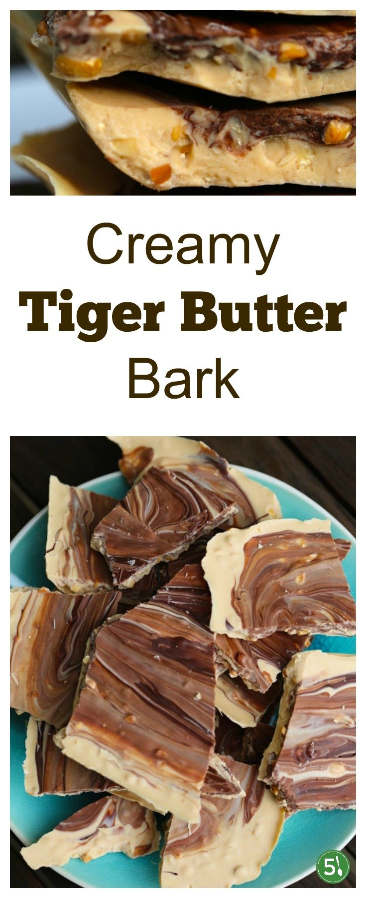 Tiger Butter Bark recipe with white chocolate, chunky peanut butter, and swirls of semi sweet chocolate.  This candy is perfect for the Christmas party desserts table.  Yum.