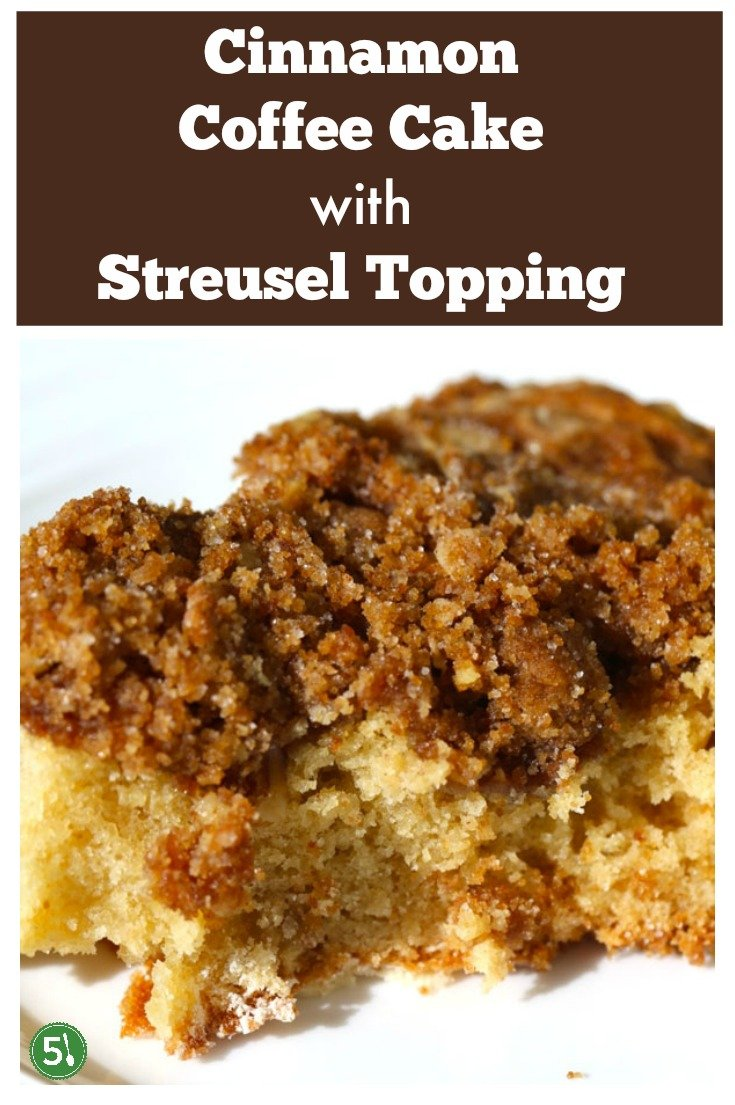 Cinnamon Coffee Cake that is buttery, moist, and has the most delicious streusel crumb topping in the whole world.