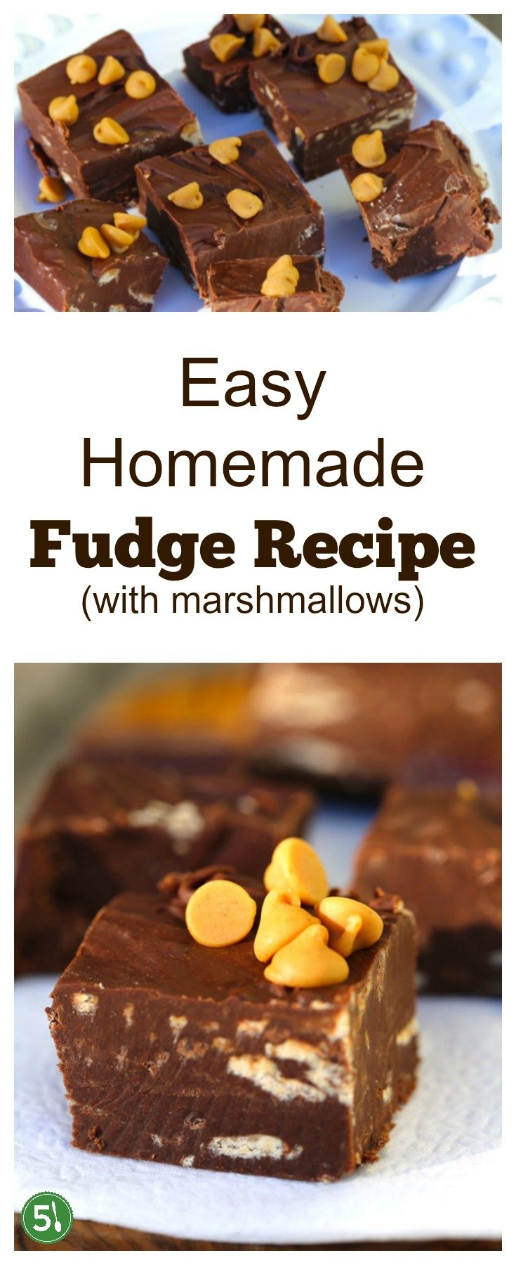 Easy chocolate fudge recipe with 3 ingredients including semi sweet chocolate chips, sweetened condensed milk, and marshmallows.  SO simple to whip up and beyond delicious!