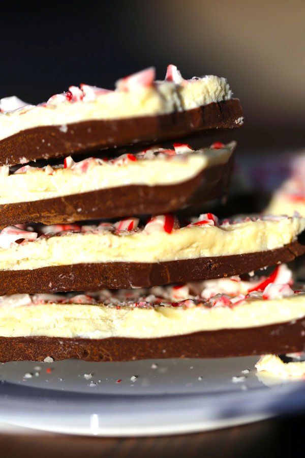 Stack of peppermint bark pieces.