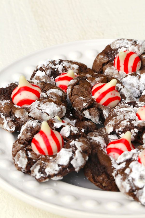 Chocolate Crinkle cookies on a plate.