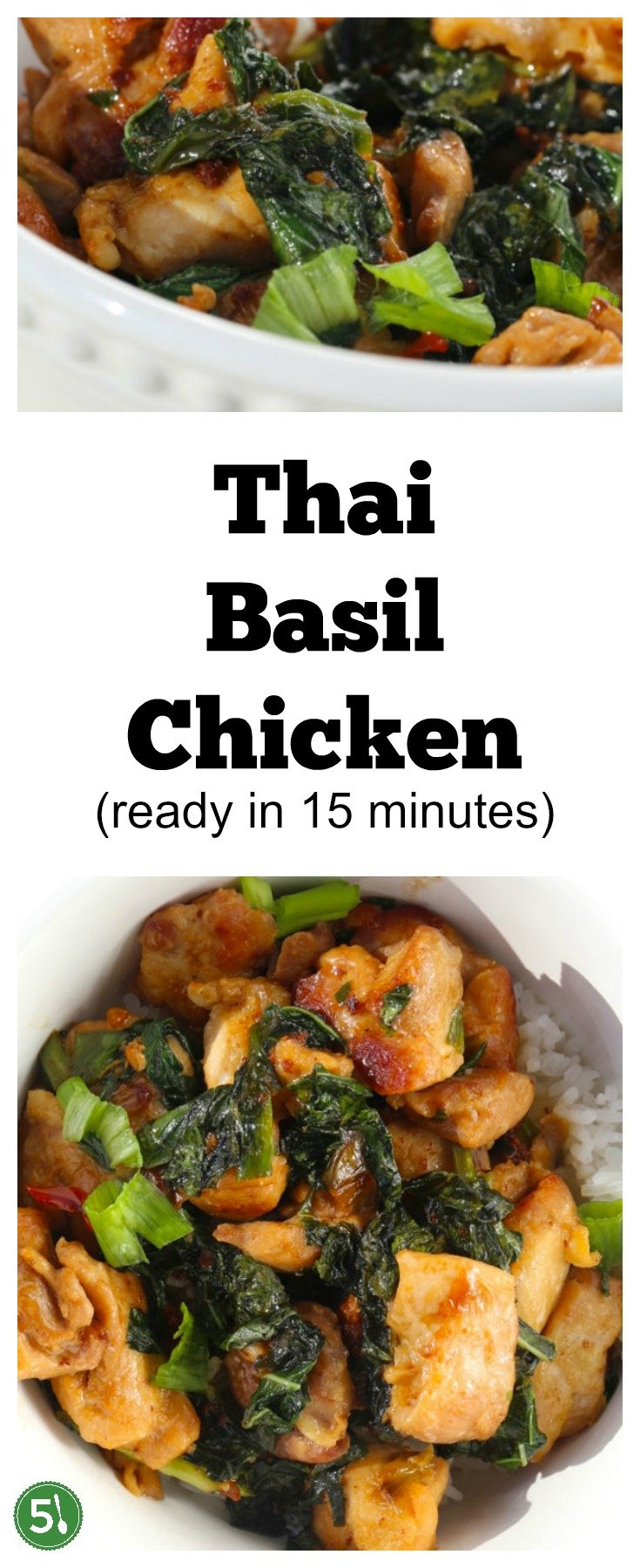 Delicious and healthy Thai Basil Chicken stir fry recipe. So easy to whip up for a midweek dinner!