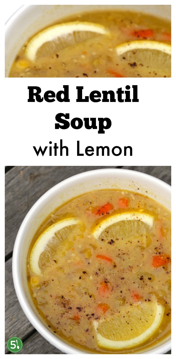 Red lentil soup with lemon recipe that is super healthy and easy to whip up for a delicious lunch or dinner.