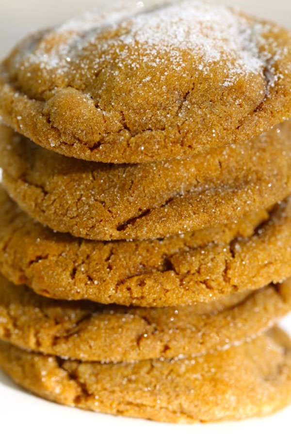 Close up of soft ginger cookies.