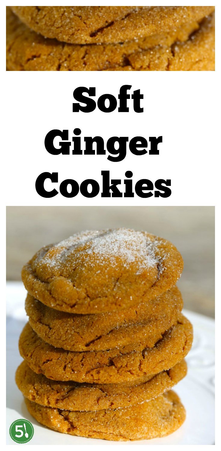 Soft ginger cookies recipe that are big in size and flavor.  The soft and chewy texture is perfection with sugar drizzled on top.