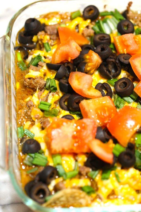 Taco casserole in baking dish.