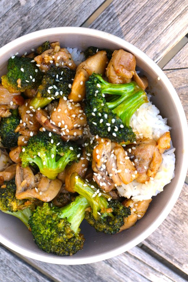 Chicken Broccoli Stir Fry in a bowl with rice.