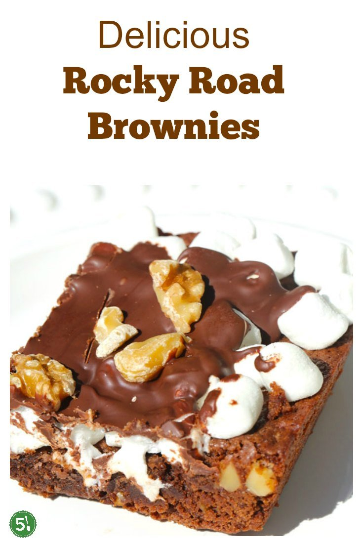 Rocky road brownies recipe filled with freshly chopped walnuts, marshmallows, and semi sweet chocolate chips.  Homemade rocky road is such an unbelievably delicious treat!