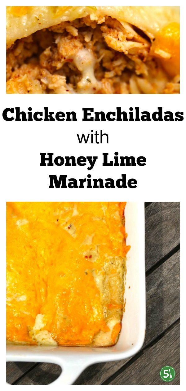 Creamy green chicken enchiladas recipe with shredded chicken, honey lime marinade, and cheddar cheese.  This is super easy to whip up and the creamy sauce on top of the casserole is out of this world delicious.