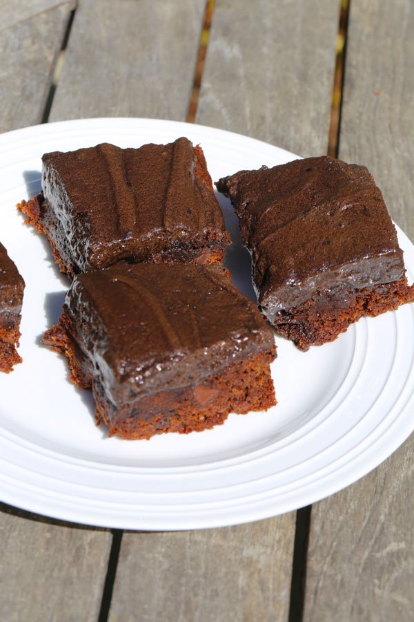 Chocolate chip brownies on a plate.