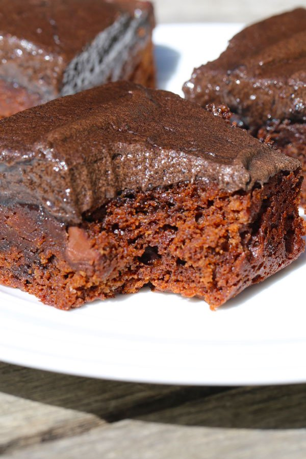 Chocolate chip brownies with fluffy chocolate frosting on a plate.
