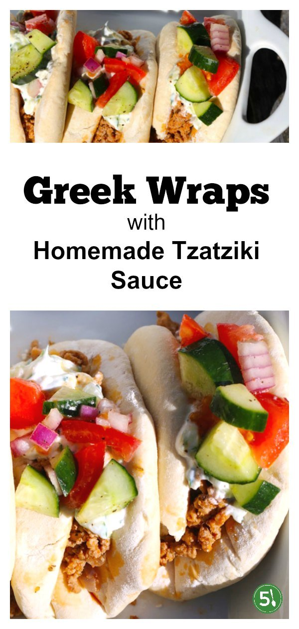 Greek wraps with ground turkey and homemade tzatziki sauce.  Topped with tomatoes, cucumbers and red onions, this is a delicious and healthy recipe for lunch or dinner.