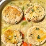 Chicken pot pie with biscuits